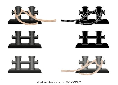 Double mooring bollard for ship. Vector illustrated on white background  illustration. Icon. Black and white silhouette