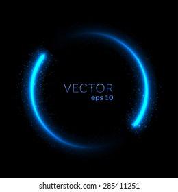 Double neon blue glittering star dust circle. Vector illustration