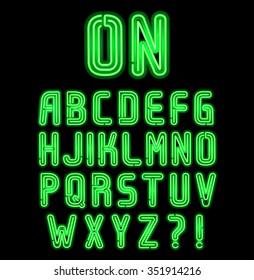Double neon font part 1 of 2, Complete Alphabet
