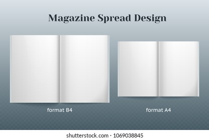 Double page spread magazine design. Two isolated templates of the B4 and A4 format. double page vector mockup on gray background. Vector image