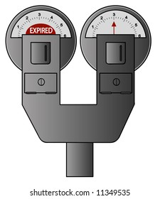 double parking meter - one expired and one with time remaining - vector
