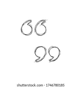 double quote mark icon sketch, left and right, vector design inspiration