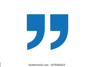 Double quotes icon vector (blue version)