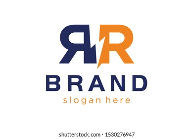 double R letter with flash concepts, electric logo template, initials logo template