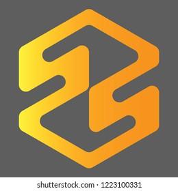 Double S Letter Logo Design Vector With Hexagon