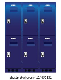 Double set of individual lockers. Vector illustration.