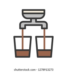 Double shot vector, coffee related filled design editable stroke icon