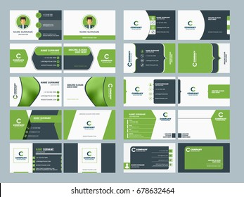 Double sided business card templates. Stationery design vector set. Vector illustration