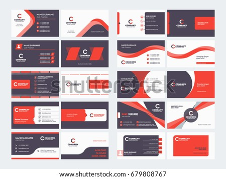 Double Sided Business Card Templates Stationery Stock Vector