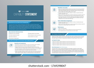 Double sided Capability statement template design or can be used as a info-graphic flyer design.