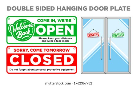 Double sided  hanging door plate Open and Closed. Come in and come tomorrow red and green color. Vector