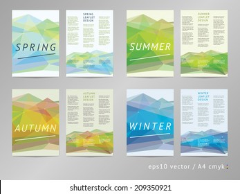 Double sided vector leaflet / brochure / cover / flyer layout template collection with polygonal background and season colored foreground. Spring, summer, autumn and winter. Eps10, A4, cmyk.