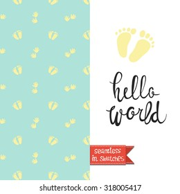 Double sided vintage greeting card for newborn baby shower party with love and party pattern background on back side and lettering on front side. Seamless pattern in swatches.