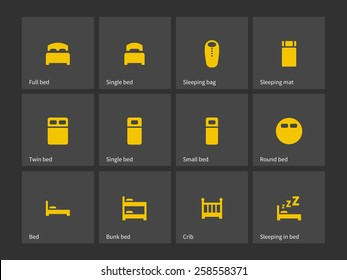 Double and single bed icons. Vector illustration.