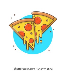 Double Slice of Pizza Melted Cheese and Meat Vector Illustration. Fast Food Logo. Cafe and Restaurant Menu. Flat Cartoon Style Suitable for Web Landing Page,  Banner, Flyer, Sticker, Card, Background