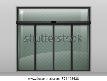 Double Sliding Glass Doors Automatic Motion Stock Vector Royalty