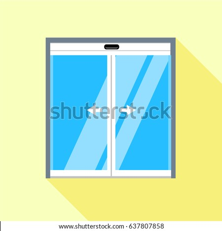 Double Sliding Glass Doors Icon Flat Stock Vector Royalty Free