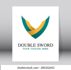 Double sword logo template for business company vector design element