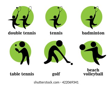 double tennis, tennis, badminton, table tennis, golf, beach volleyball sport icons