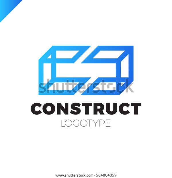 Building Style Abstract Business Card Template: Double Two Letter C Logo Icon Stock Vector (Royalty Free