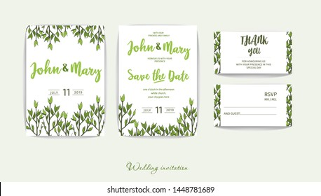 Double wedding invitation with greenery in rustic style. Lightweight design. Green twigs on white background for your holiday. Romantic set for the event.