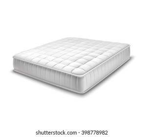 Double white mattress in realistic style on white background isolated vector illustration