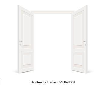 Double white open door isolated