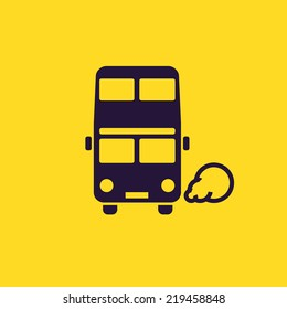 Double-decker bus icon. London classic passenger bus pictogram on yellow background. Round headlights, exhaust smoke. For tourist maps, transport schemes, travel applications and infographics.