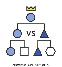 Double-elimination tournament color icon. Esports. Cyber championship. Competition. Game strategy scheme. Isolated vector illustration
