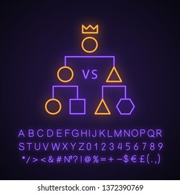 Double-elimination tournament neon light icon. Esports. Cyber championship. Competition. Game strategy scheme. Glowing sign with alphabet, numbers and symbols. Vector isolated illustration