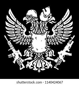 Double-headed eagle in helmet and with machine guns