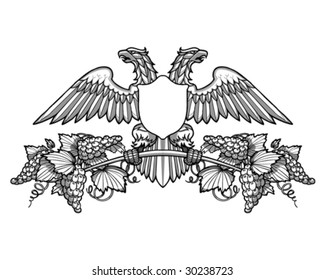 double-headed eagle holding a branch of grapes vector