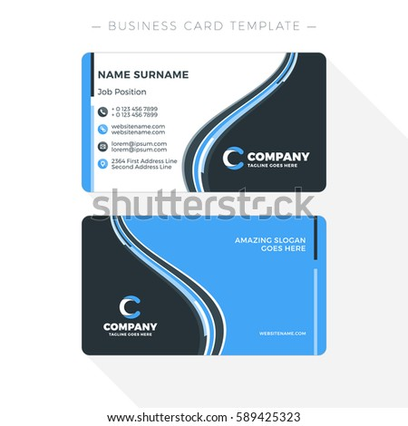 doublesided business card template abstract blue stock vector