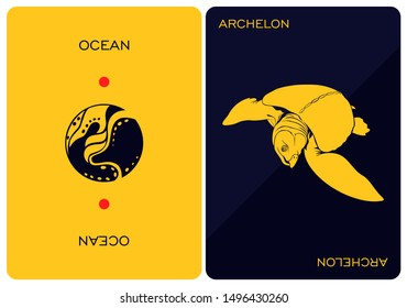 Double-sided card depicting the fossil reptile of Archelon. Design element for logo, label, emblem, sign. Vector Image - Vector