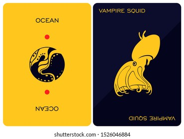 Double-sided card depicting of vampire squid. Design element for logo, label, emblem, sign