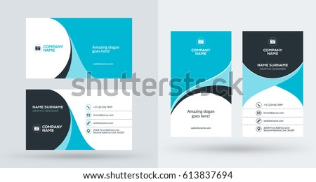 Doublesided creative business card template portrait stock vector double sided creative business card template portrait and landscape orientation horizontal and vertical flashek Choice Image