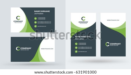 Doublesided creative business card template portrait stock vector double sided creative business card template portrait and landscape orientation horizontal and vertical accmission Choice Image