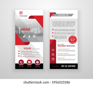 Double-sided DL flyer design. Brochure or flyer template. Layout with modern elements and photo space.