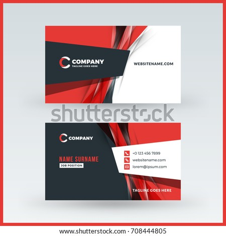 Doublesided horizontal business card template vector stock vector double sided horizontal business card template vector mockup illustration stationery design wajeb Gallery