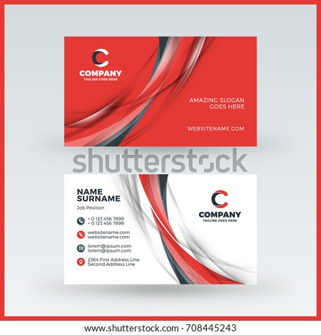 doublesided horizontal business card template vector stock vector