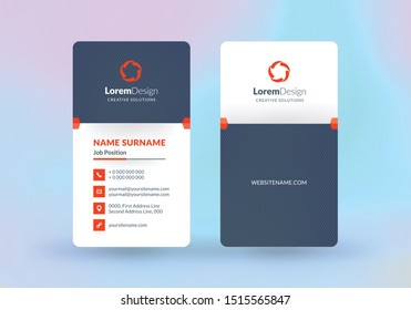 Double-sided vertical business card template. Vector mockup illustration. Stationery design. Halftone texture