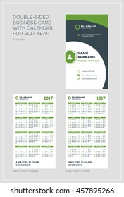 Doublesided vertical business card template calendar stock vector double sided vertical business card template with calendar for 2017 year week starts monday cheaphphosting Gallery