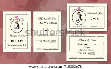 Doublesided Wedding Invitation Couple On Bicycle Stock Vector