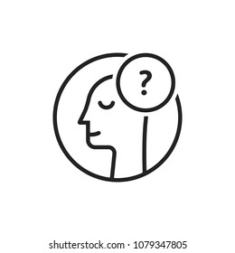 doubt logo with thin line man. stroke style trend modern simple person imagine logotype graphic art round design isolated on white background. concept of choice opportunity or decision by intuition