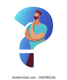 Doubtful man flat vector illustration. Bearded guy with hand on chin gesture cartoon character. Serious boy in question mark silhouette making decision. Thinking, considering opportunities