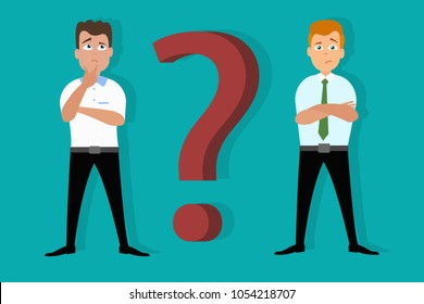 Doubtful, skeptical and confused. Illustration of two men in great confusion on blue background with red question mark. Eps vector illustration, horizontal image, flat style graphic design.