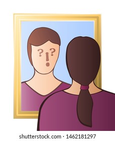 Doubtful woman looking in the mirror - identity crisis, uncertainty, self-doubts, scepticism, bewilderment, confusion, unconsciousness or daze - with question and exclamation marks in her face.