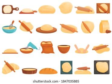 Dough icons set. Cartoon set of dough vector icons for web design