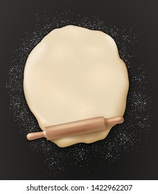 Dough, rolling pin and flour on table, 3d realistic top view. Vector dough kneading with rolling pin, bakery and patisserie or baker shop poster, wheat and rye bread baking