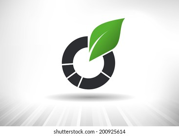 Doughnut chart with green leaf. Background and chart on separate layers.